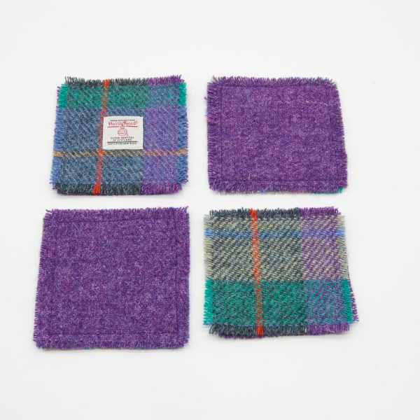 Green and purple check Harris Tweed coasters