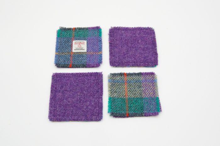 Green and purple check Harris Tweed coasters