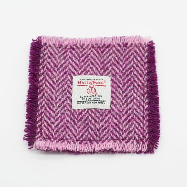 Plum and pink herringbone Harris Tweed Coasters