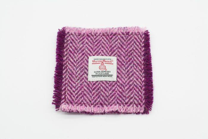 Plum and pink herringbone Harris Tweed Coasters