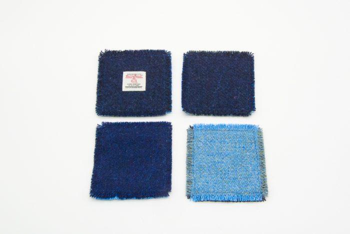 Plain blue Harris Tweed Coasters