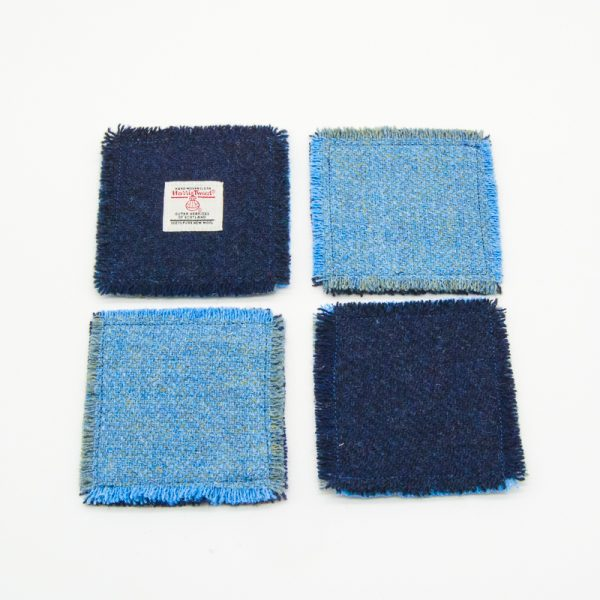 Plain blue Harris Tweed Coasters (limited edition)