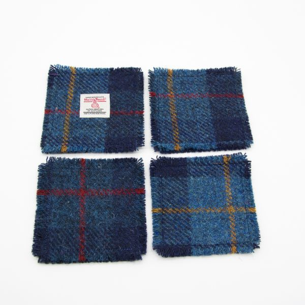 Navy check harris tweed coaster