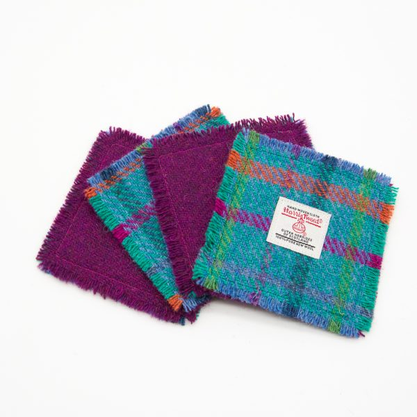 Teal and plum harris tweed coasters