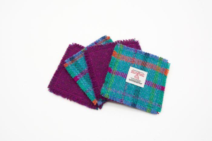 Teal and plum harris tweed coasters