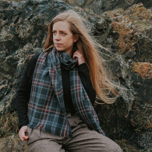 Hebridean heather tartan scarf