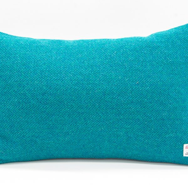 Turquoise herringbone Harris Tweed cushion cover